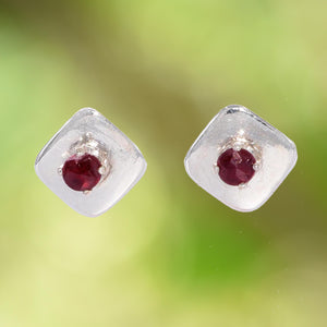 RED GARNET Stud Earrings in Square Argentium Silver Setting