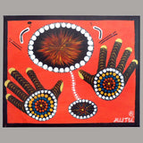 INDIGENOUS ART  HANDS ON RED CANVAS 2