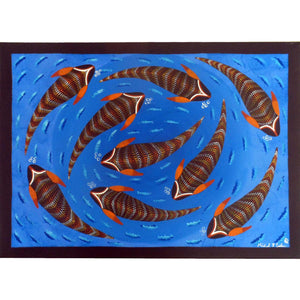 INDIGENOUS ART 9 FISH ON BLUE CANVAS 50cm x 70cm