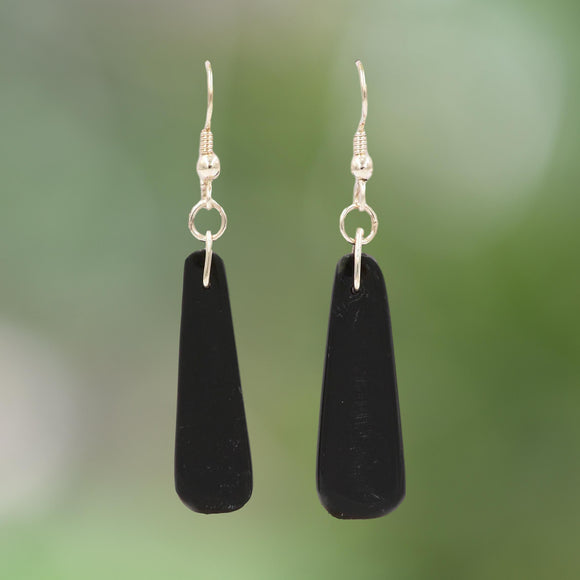 BLACK JADE ARGENTIUM Silver Drop Earrings