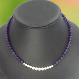AMETHYST AND ARGENTIUM Silver Bead Necklace