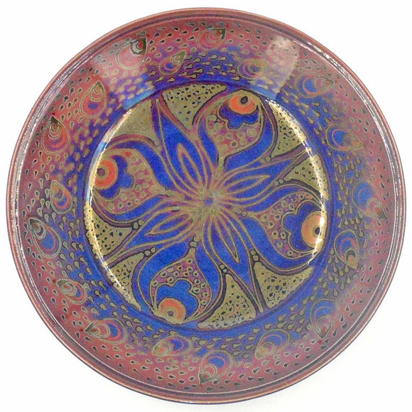 RED & BLUE LUSTREWARE SHALLOW BOWL