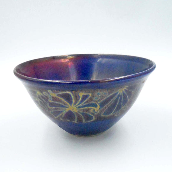 BLUE RED AND GOLD LUSTRE WARE BOWL