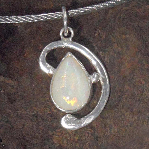 WHITE OPAL in Argentium silver Pendant