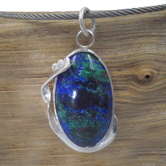 AZURITE with MALACHITE set in Argentium Silver Pendant