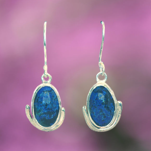 OVAL AZURITE and Argentium Silver Earrings