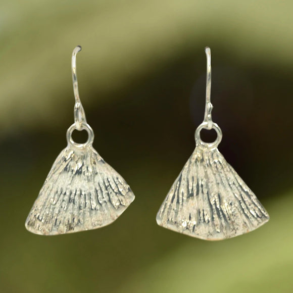 TRIANGULAR CORAL EARRINGS cast in Argentium Silver from coral