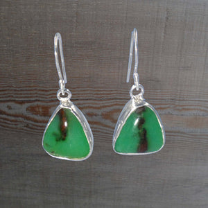 TRIANGULAR CHRYSOPRASE EARRINGS set in Argentium Silver