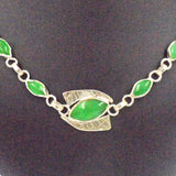ARGENTIUM SILVER NECKLACE with 17 green Chrysoprase
