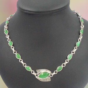 ARGENTIUM SILVER NECKLACE with 17 polished green Chrysoprase