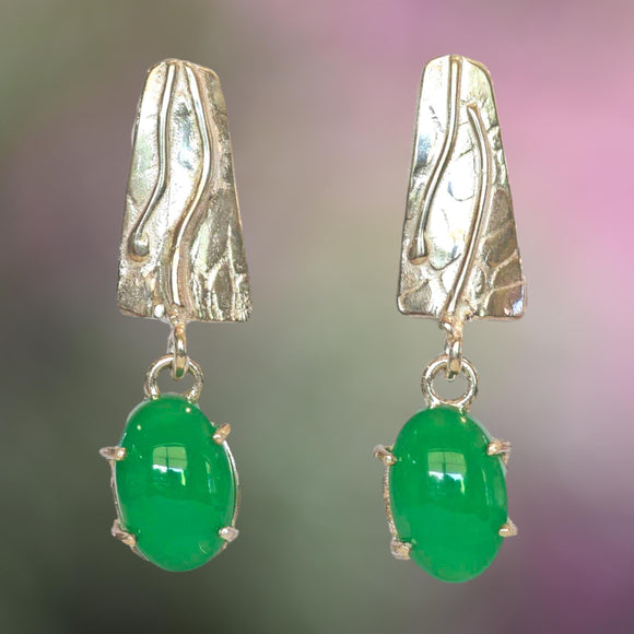 CHRYSOPRASE & ARGENTIUM Silver Drop Stud Earrings