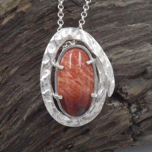 OVAL MOOKAITE in Argentium Silver Pendant
