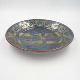 BLUE / RED / GOLD SHALLOW LUSTRE WARE BOWL, (Aspenium Australasicum)