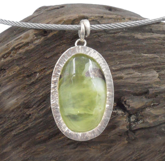 OVAL PREHNITE PENDANT set with Argentium 960 Silver