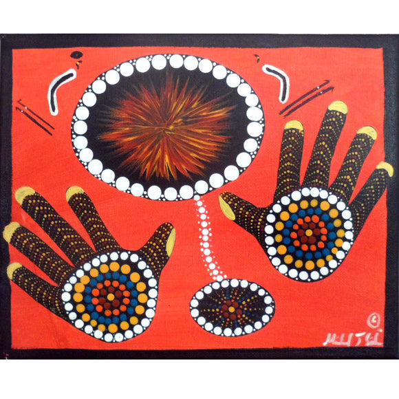 INDIGENOUS ART  HANDS ON RED CANVAS