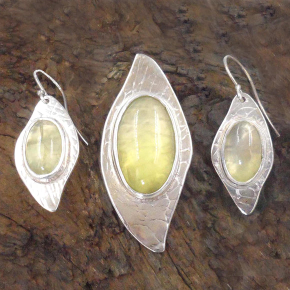 YELLOW PREHNITE PENDANT & Earrings in Argentium Silver