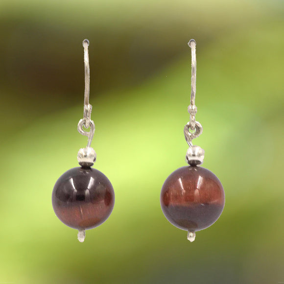 TIGER EYE EARRINGS set with Argentium Silver