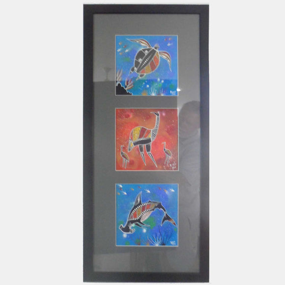 INDIGENOUS ART - 3 SQUARE PAINTINGS - TURTLE, EMU, HAMMERHEAD SHARK - FRAMED WITH GLASS