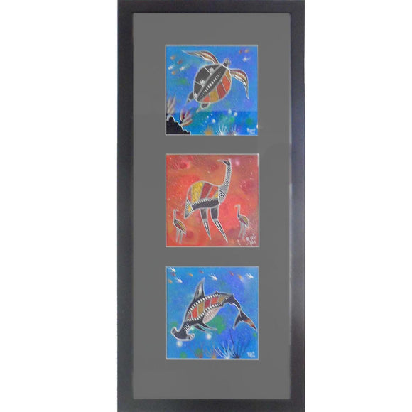 INDIGENOUS ART - TURTLE, EMU, HAMMERHEAD SHARK