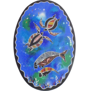 INDIGENOUS ART OVAL PAINTING TWO TURTLES TWO DUGONG