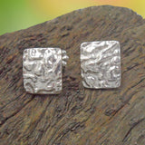 RECTANGULAR ARGENTIUM SILVER Stud Earring cast with Seaweed Pattern