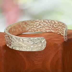 ORGANIC SILVER BANGLE cast in Argentium Silver - Seaweed Pattern