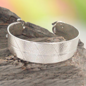ARGENTIUM SILVER BANGLE with leaf pattern