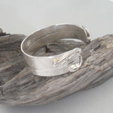 SILVER BANGLE with leaf pattern