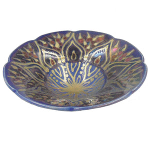 BLUE, RED & GOLD SMALL LUSTRE WARE BOWL
