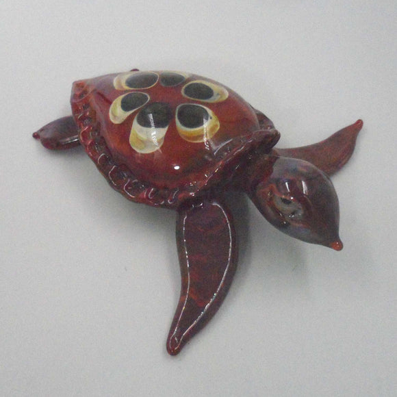 BURGUNDY COLOUR GLASS TURTLE