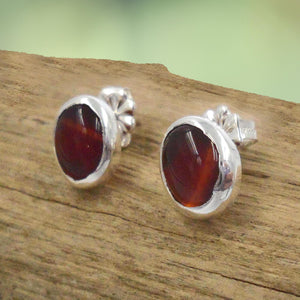 CARNELIAN & ARGENTIUM Silver Stud Earrings