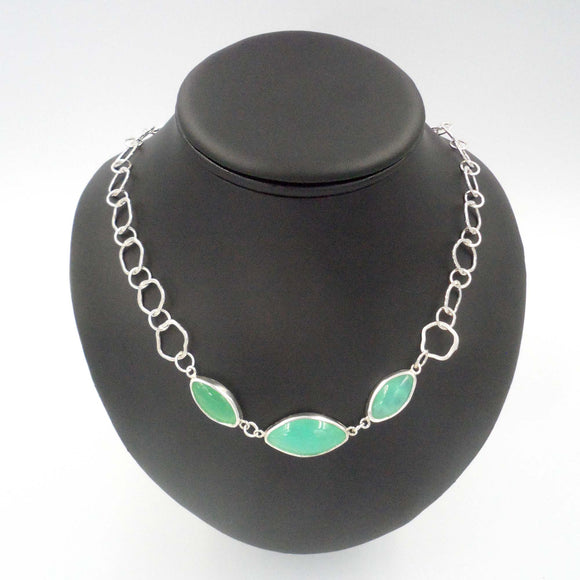 THREE CHRYSOPRASE IN  ARGENTIUM SILVER NECKLACE