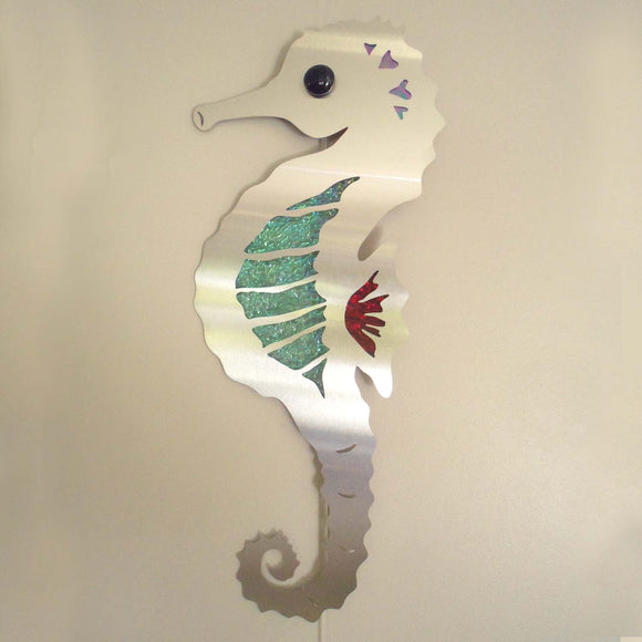 METAL & GLASS SEAHORSE WALL HANGING