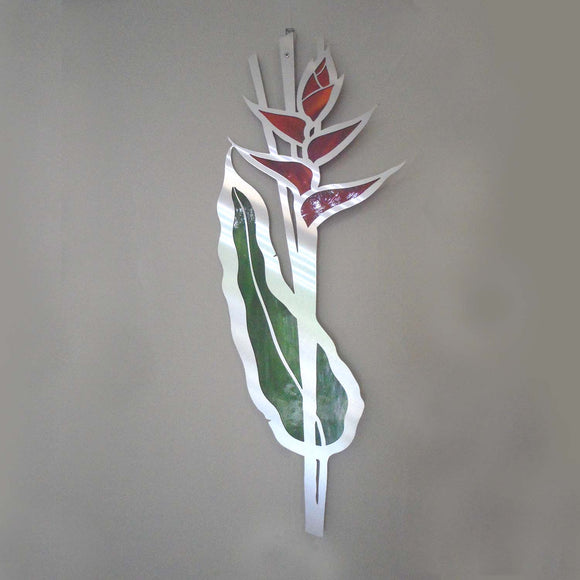 METAL & GLASS HELICONIA WALL HANGING