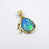 BLUE & GREEN CRYSTAL OPAL IN 18ct GOLD PENDANT
