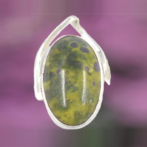 OVAL SERPENTINE WITH STITCHITE IN ARGENTIUM 960 SIVER PENDANT