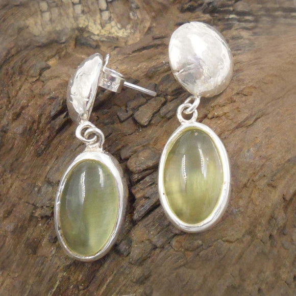 PREHNITE & ARGENTIUM Silver Stud Earrings