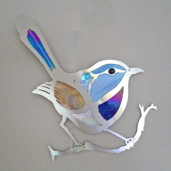 METAL AND GLASS WREN WALL HANGING