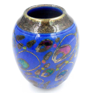 BLUE & GOLD LUSTRE WARE SMALL VASE