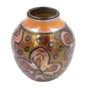 RED, ORANGE & GOLD SMALL VASE