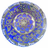 BLUE AND GOLD LUSTRE WARE BOWL 28cm Diameter