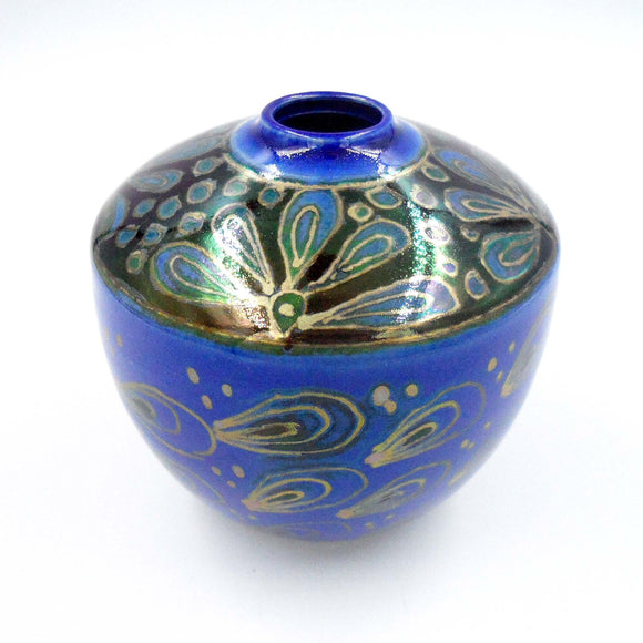 BLUE & GOLD LUSTREWARE VASE - Pottery