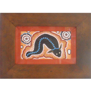 INDIGENOUS ART MOUNTED IN WOOD FRAME