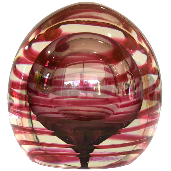 CLEAR BLOWN GLASS BALL WITH DARK PINK SWIRL