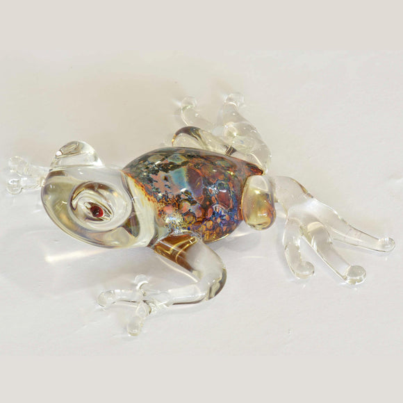 CLEAR METALLIC GLASS FROG
