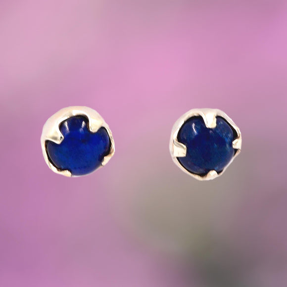 ROUND LAPIS in Argentium Silver Stud Earrings