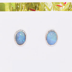 OVAL OPAL in Argentium Silver Stud Earrings