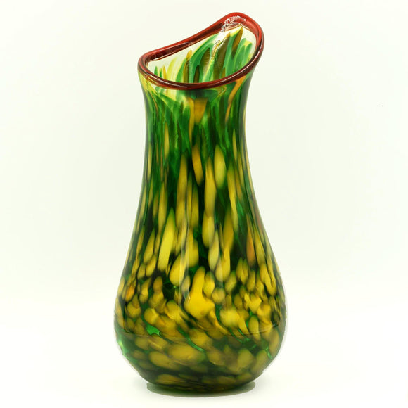 YELLOW & GREEN TALL GLASS VASE