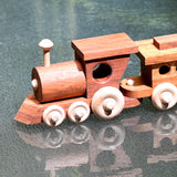 HANDMADE WOODEN TOY TRAIN - ENGINE & 2 CARRIAGES