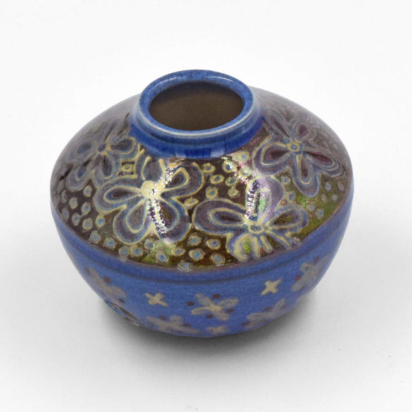 BLUE RED & GOLD LUSTRE WARE VASE
